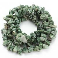 Grüner Tupfen Stein Perlen, grüner Punkt Stein, Klumpen, 8-12mm, Bohrung:ca. 1.5mm, ca. 76PCs/Strang, verkauft per ca. 31 ZollInch Strang