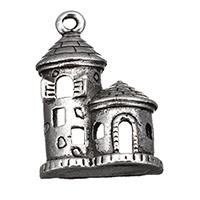 Zinklegierung Gebäude Anhänger, Burg, antik silberfarben plattiert, frei von Nickel, Blei & Kadmium, 13x19x6.50mm, Bohrung:ca. 1mm, 800PCs/Menge, verkauft von Menge