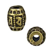 Buddhistische Perlen, Messing, oval, antike Bronzefarbe plattiert, buddhistischer Schmuck & om mani padme hum, frei von Nickel, Blei & Kadmium, 9.50x11.50x9.50mm, Bohrung:ca. 3mm, 30PCs/Menge, verkauft von Menge