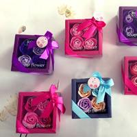 PE Schaumstoff Seife, mit Papier, Blume, gemischte Farben, 115x115x50mm, 5BoxenFeld/Menge, 4PCs/Box, verkauft von Menge