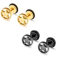 Edelstahl Ohrringe, Stern, plattiert, für Frau, keine, 8mm, verkauft von Paar
