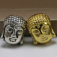 Buddhistische Perlen, Zinklegierung, Buddha, plattiert, buddhistischer Schmuck, keine, frei von Blei & Kadmium, 11x9mm, Bohrung:ca. 1.5mm, 100PCs/Tasche, verkauft von Tasche