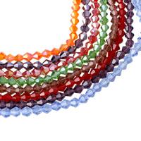 Doppelkegel Kristallperlen, Kristall, facettierte, mehrere Farben vorhanden, 6x6mm, Bohrung:ca. 1mm, Länge:ca. 11 ZollInch, 10SträngeStrang/Tasche, ca. 50PCs/Strang, verkauft von Tasche