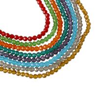 Rondell Kristallperlen, Kristall, facettierte, mehrere Farben vorhanden, 4mm, Bohrung:ca. 1mm, Länge:ca. 14 ZollInch, 10SträngeStrang/Tasche, ca. 100PCs/Strang, verkauft von Tasche