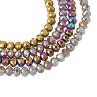 Rondell Kristallperlen, Kristall, bunte Farbe plattiert, facettierte, mehrere Farben vorhanden, 10x8mm, Bohrung:ca. 1mm, Länge:ca. 21.5 ZollInch, 10SträngeStrang/Tasche, ca. 72PCs/Strang, verkauft von Tasche
