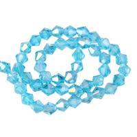 Doppelkegel Kristallperlen, Kristall, AB Farben plattiert, facettierte, karibikblau, 6mm, Bohrung:ca. 1mm, Länge:ca. 11 ZollInch, 10SträngeStrang/Tasche, ca. 50PCs/Strang, verkauft von Tasche