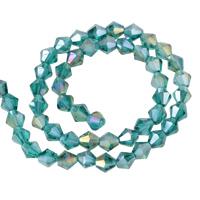 Doppelkegel Kristallperlen, Kristall, bunte Farbe plattiert, facettierte, pfauenblau, 6mm, Bohrung:ca. 1mm, Länge:ca. 11 ZollInch, 10SträngeStrang/Tasche, ca. 50PCs/Strang, verkauft von Tasche