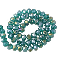 Rondell Kristallperlen, Kristall, bunte Farbe plattiert, facettierte, pfauenblau, 10x8mm, Bohrung:ca. 1mm, Länge:ca. 21.5 ZollInch, 10SträngeStrang/Tasche, ca. 72PCs/Strang, verkauft von Tasche