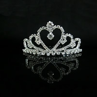 Krone, Zinklegierung, Platinfarbe platiniert, für Braut & mit Strass, frei von Blei & Kadmium, 70mm, verkauft von PC