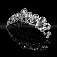 Krone, Zinklegierung, mit Kristall, Platinfarbe platiniert, für Braut & facettierte & mit Strass, frei von Blei & Kadmium, 90-100mm, verkauft von PC