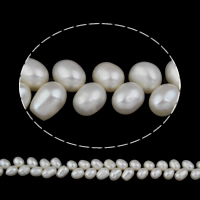 Lagerluft Süßwasser Perlen, Natürliche kultivierte Süßwasserperlen, Reis, natürlich, weiß, 7-8mm, Bohrung:ca. 0.8mm, verkauft per ca. 15 ZollInch Strang