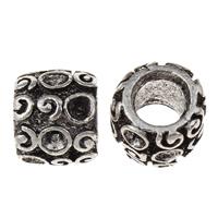 Zinklegierung Perlen Einstellung, Trommel, antik silberfarben plattiert, frei von Blei & Kadmium, 9x11mm, Bohrung:ca. 5.5mm, Innendurchmesser:ca. 1.5mm, 100G/Tasche, verkauft von Tasche