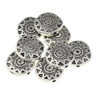 Zinklegierung flache Perlen, flache Runde, antik silberfarben plattiert, frei von Blei & Kadmium, 13x13x3.50mm, Bohrung:ca. 1mm, 100G/Tasche, verkauft von Tasche