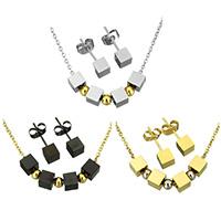 Edelstahl Schmucksets, Ohrring & Halskette, Würfel, plattiert, Oval-Kette & für Frau, keine, 5x5x5mm, 3x4x4mm, 2x1.5x0.3mm, 5x5x17mm, Länge:ca. 18 ZollInch, verkauft von setzen