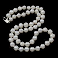 Süßwasserperlen Messing Halskette, Natürliche kultivierte Süßwasserperlen, Messing Karabinerverschluss, Kartoffel, natürlich, weiß, 6-7mm, verkauft per ca. 16.5 ZollInch Strang