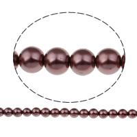 Perlmuttartige Glasperlen, rund, verschiedene Größen vorhanden, dunkelviolett, Bohrung:ca. 1mm, verkauft per ca. 31.4 ZollInch Strang