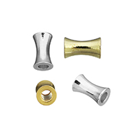 Messing Schmuckperlen, plattiert, keine, frei von Nickel, Blei & Kadmium, 5.50x3x3mm, Bohrung:ca. 1.5mm, 500PCs/Menge, verkauft von Menge