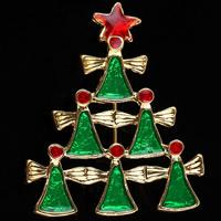 Weihnachten Broschen, Zinklegierung, Weihnachtsbaum, goldfarben plattiert, unisex & Weihnachtsschmuck & Emaille, frei von Nickel, Blei & Kadmium, 45x38mm, 3PCs/Menge, verkauft von Menge