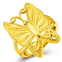Messing Fingerring, Schmetterling, 18 K vergoldet, mit 925 logo & für Frau, frei von Blei & Kadmium, 6mm, Größe:6-10.5, verkauft von PC