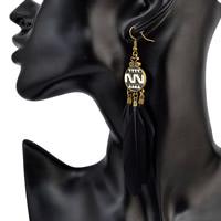 Zinklegierung Tropfen Ohrring, mit Feder, Messing Stecker, antike Bronzefarbe plattiert, für Frau & Emaille, frei von Nickel, Blei & Kadmium, 110mm, verkauft von Paar