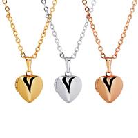 Mode Medaillon Halskette, Messing, Herz, plattiert, mit Foto-Medaillon & Oval-Kette & für Frau, keine, frei von Nickel, Blei & Kadmium, 10x10mm, verkauft per ca. 15.7 ZollInch Strang
