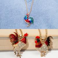 Zinklegierung Pullover Halskette, mit Eisenkette, Huhn, goldfarben plattiert, Laterne Kette & Emaille & mit Strass, keine, frei von Blei & Kadmium, 50x53mm, verkauft per ca. 27 ZollInch Strang