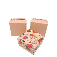 Karton Schmuckset Kasten, Fingerring & Ohrring, mit Schwamm, Quadrat, verschiedene Muster für Wahl, 50x50x30mm, 100PCs/Menge, verkauft von Menge