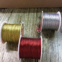 Metallische Garn, Metallische Schnur, mit Kunststoffspule, gemischte Farben, 1mm, 5PCs/Tasche, ca. 20m/PC, verkauft von Tasche