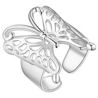 Messing Manschette Fingerring, Schmetterling, silberfarben plattiert, für Frau & hohl, frei von Nickel, Blei & Kadmium, Größe:6-9, verkauft von PC
