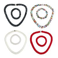 Kristall Schmucksets, Armband & Halskette, Edelstahl Schnappschließe, facettierte, mehrere Farben vorhanden, 10x15mm, Länge:ca. 15 ZollInch, ca. 6 ZollInch, verkauft von setzen