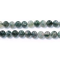 Natürliche Moos Achat Perlen, rund, verschiedene Größen vorhanden, Bohrung:ca. 0.5-1.5mm, Länge:ca. 15.5 ZollInch, verkauft von Menge