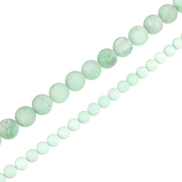 Amazonit Perlen, rund, natürlich, verschiedene Größen vorhanden & satiniert, Klasse AB, Bohrung:ca. 0.5-1.5mm, verkauft per ca. 15.5 ZollInch Strang
