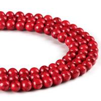 Synthetische Türkis Perle, rund, verschiedene Größen vorhanden, rot, Bohrung:ca. 1mm, verkauft per ca. 15.5 ZollInch Strang