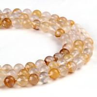 Natürlicher Citrin Perlen, Gelbquarz Perlen, rund, verschiedene Größen vorhanden, Bohrung:ca. 1mm, verkauft per ca. 15.5 ZollInch Strang