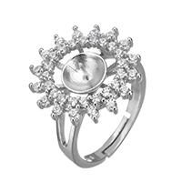 925 Sterling Silber Ringfassung, Blume, Micro pave Zirkonia, 18x18x6mm, 0.6mm, Größe:6.5, 3PCs/Menge, verkauft von Menge