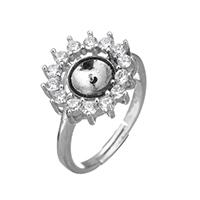 925 Sterling Silber Ringfassung, Blume, Micro pave Zirkonia & Emaille, 14.5x14x4mm, 0.7mm, Größe:6.5, 3PCs/Menge, verkauft von Menge