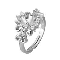 925 Sterling Silber Ringfassung, Blume, Micro pave Zirkonia, 12x5mm, 0.8mm, Größe:6.5, 5PCs/Menge, verkauft von Menge