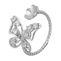 925 Sterling Silber Ringfassung, Schmetterling, offen & Micro pave Zirkonia, 14.5mm, 0.8mm, Größe:6, 5PCs/Menge, verkauft von Menge