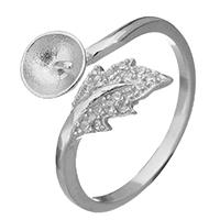 925 Sterling Silber Ringfassung, Blatt, offen & Micro pave Zirkonia, 13mm, 0.6mm, Größe:6.5, 5PCs/Menge, verkauft von Menge
