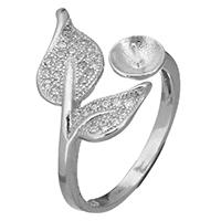 925 Sterling Silber Ringfassung, Blatt, offen & Micro pave Zirkonia, 14mm, 0.7mm, Größe:5, 5PCs/Menge, verkauft von Menge