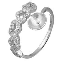 925 Sterling Silber Ringfassung, Herz, offen & Micro pave Zirkonia, 16mm, 0.8mm, Größe:6.5, 5PCs/Menge, verkauft von Menge