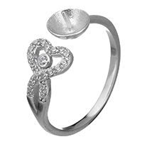 925 Sterling Silber Ringfassung, Herz, offen & Micro pave Zirkonia, 8x2mm, 6.5x4mm, 0.8mm, Größe:6.5, 5PCs/Menge, verkauft von Menge