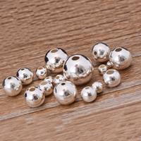 925 Sterling Silber Perlen, rund, verschiedene Größen vorhanden, Bohrung:ca. 1mm, verkauft von Tasche
