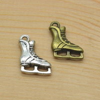 Zinklegierung Schuhe Anhänger, plattiert, keine, frei von Nickel, Blei & Kadmium, 12x17x3mm, Bohrung:ca. 1.5mm, 50PCs/Menge, verkauft von Menge