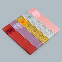 Karton Halskettenkasten, mit Gaze, Rechteck, verschiedene Muster für Wahl, keine, 205x45x20mm, 10PCs/Menge, verkauft von Menge