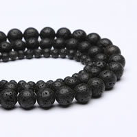 Natürliche Lava Perlen, rund, verschiedene Größen vorhanden, Bohrung:ca. 1mm, verkauft per ca. 15 ZollInch Strang