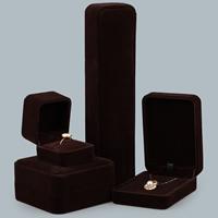 Baumwollsamt Schmuckset Kasten, mit Kleber Film, verschiedene Stile für Wahl, dunkle Kaffee-Farbe, verkauft von PC
