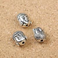 Buddhistische Perlen, Zinklegierung, Buddha, antik silberfarben plattiert, frei von Nickel, Blei & Kadmium, 9x11x8mm, Bohrung:ca. 1mm, 100PCs/Menge, verkauft von Menge
