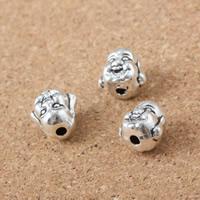 Buddhistische Perlen, Zinklegierung, Buddha, antik silberfarben plattiert, frei von Nickel, Blei & Kadmium, 10x10x8mm, Bohrung:ca. 1.5mm, 50PCs/Menge, verkauft von Menge