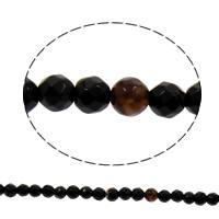 Natürliche schwarze Achat Perlen, Schwarzer Achat, facettierte, 5mm, Bohrung:ca. 1mm, ca. 74PCs/Strang, verkauft per ca. 15 ZollInch Strang